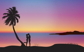 Wallpaper sunset, Palma, romance, pair, silhouettes, lovers, composition