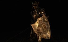 Picture rendering, background, sword, armor, warrior, helmet, shield