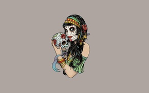 Picture girl, flowers, rose, skull, minimalism, light background