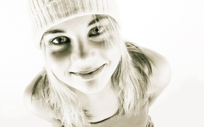 Picture look, girl, smile, style, black and white, mood, hat, positive, beautiful, fun, blonde, photo-Wallpaper.