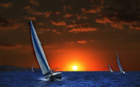 Picture sea, sunset, photoshop, yachts