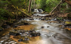 Picture forest, bridge, river, stones, waterfall, Michigan, Alger County, Chapel Falls