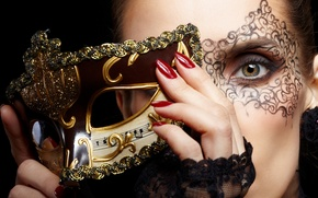 Picture girl, face, hands, makeup, mask, red, nails, gold, green-eyed, carnival