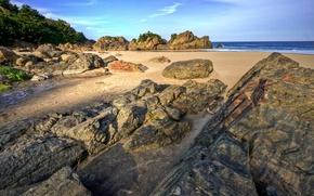 Wallpaper sea, beach, stones, sand