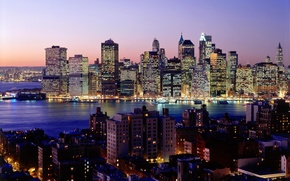 Picture night, the city, lights, river, Wallpaper, skyscrapers, new York, wallpapers, new york