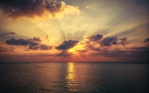 Picture rays, sunset, Nature