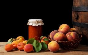 Picture still life, basket, peaches, jam, apricots