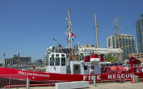 Picture pier, Canada, Toronto, Canada, Toronto, mast, Harbourfront, Harbourfront, fire boat