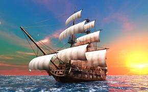 Picture the sun, the ocean, dawn, graphics, ship, sailboat, sails, brig, mast, the bowsprit