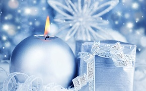 Picture gift, candle, blue, Snowflake