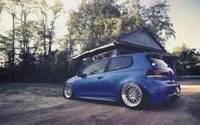 Picture blue, house, Volkswagen, Golf R