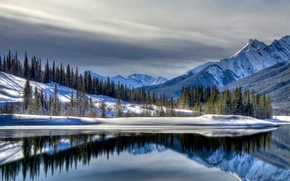 Picture lake, snow, snow, mountains, winter, landscape, winter