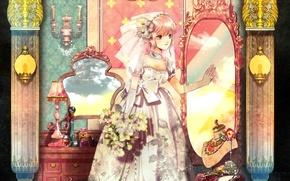 Picture decoration, mirror, the bride, veil, wedding dress, candlesticks, gloves elbow, boudoir, the bride's bouquet, by …