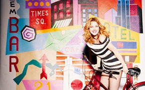 Picture bike, smile, background, color, actress, Drew Barrymore, Drew Barrymore