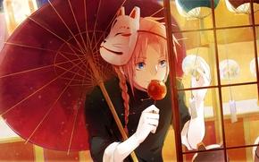 Picture umbrella, anime, art, guy, GINTAMA