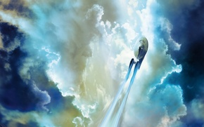 Wallpaper clouds, fiction, the sky, Star Trek, Star trek, Enterprise, flight, NCC 1701, Starship, Spacecraft, spaceship