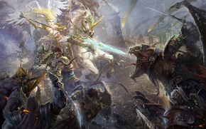 Picture angel, monsters, blow, spear, battle, Art, army