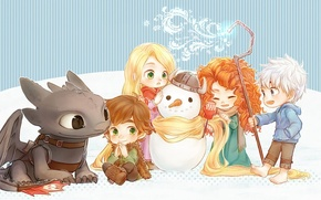 Wallpaper magic, snowman, cartoons, company, Rapunzel, disney, disney, how to train your dragon, brave, brave heart, ...