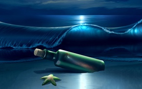 Picture sea, wave, night, bottle, starfish, wave, starfish, bottle, the sea, the night