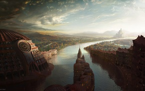 Wallpaper morning, river, Peter Swigut, the city