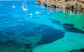 Picture sea, tropics, stones, shore, yachts, boats, Spain, Ibiza