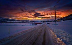 Picture twilight, road, sunset, winter, mountains, snow, dusk, village, valley, countryside, farm, telephone line, countryside scene