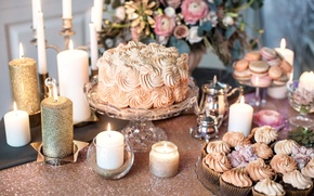 Picture flowers, style, candles, cake, cream, vintage, cakes