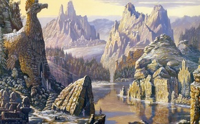 Picture autumn, mountains, lake, rocks, frost, temples, Ural, the first snow, Vsevolod Ivanov, Russian folklore, Slavic …