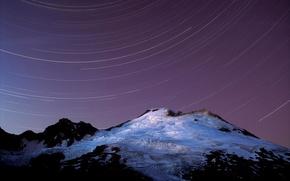 Wallpaper mountain, Stars, snow