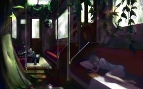 Picture flower, girl, train, roses, plants, cell, anime, art, the car, lies, pillow, book, kikivi