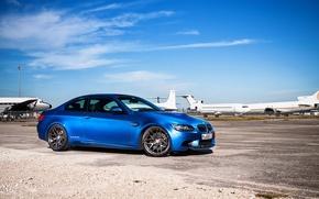 Picture blue, bmw, BMW, profile, drives, Blik, blue, e92