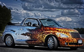 Picture FIRE, The SKY, CLOUDS, FLAME, AIRBRUSHING, CONVERTIBLE, LANGUAGES, Chrysler PT Cruiser