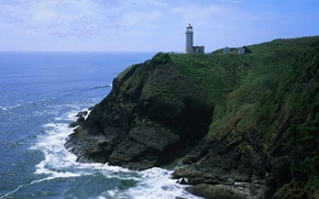 Wallpaper Rock, Lighthouse, Surf