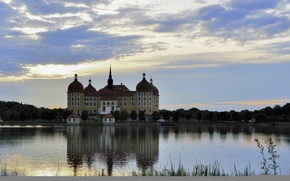 Picture the sky, lake, castle, Germany, Moritzburg