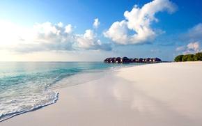 Picture beach, nature, tropics, the ocean, The Maldives