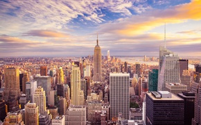 Picture the sky, clouds, dawn, coast, home, New York, skyscrapers, Bay, USA, megapolis