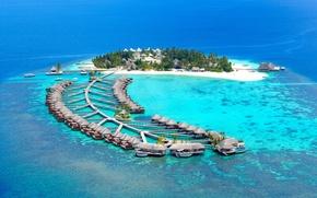 Picture beach, island, pierce, The Maldives, resort, Bungalow, reef, Maldives