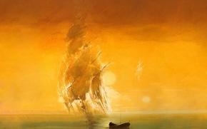 Picture boat, Figure, sketch