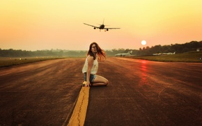 Picture girl, aircraft, runway