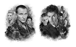 Picture art, black and white, Doctor Who, Doctor Who, David Tennant, David Tennant, Tenth Doctor, Tenth …