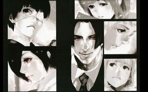 Picture face, monsters, red eyes, eye patch, Tokyo Ghoul, Ken Kanek, Bring Kirishima, Juuzou Suzuya, Shu …