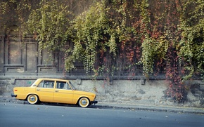 Picture road, background, Wallpaper, Lada, yellow, vaz, Lada, 2106, Schoch, resto, low classic