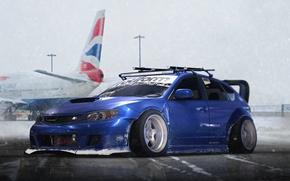 Wallpaper Subaru, Impreza, WRX, Blue, STI, Snow, Stance