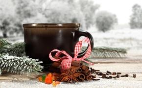 Wallpaper Cup, snow, winter, ribbon, tea, cinnamon, sprig, cup, twig, tea, snow, cinnamon, tape, pine, coffee, ...