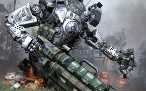 Picture wallpaper, battlefield, gun, game, robot, weapon, war, man, rifle, knife, suit, uniform, combat, Titanfall, titan, ...