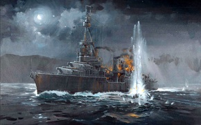 """Picture the explosion, night, fire, figure, art, American, WW2, heavy cruiser """"Northampton"""", the left side, 30 …"""