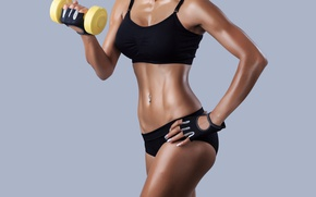 Wallpaper pose, fitness, dumbbell, desired body