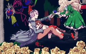 Picture the game, roses, art, girl, guy