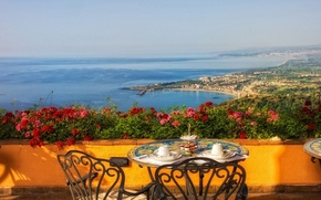 Picture sea, flowers, coast, Italy, table, Italy, terrace