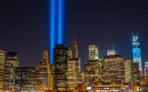 Picture night, the city, lights, ray, skyscrapers, new York, USA, spotlight, megapolis, usa, new york city, …